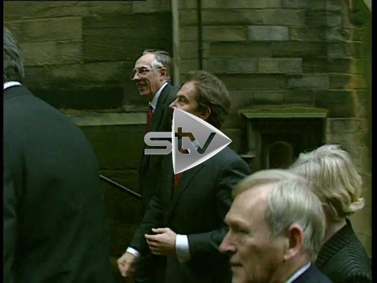 Prime Minister Tony Blair enters the Scottish Parliament.