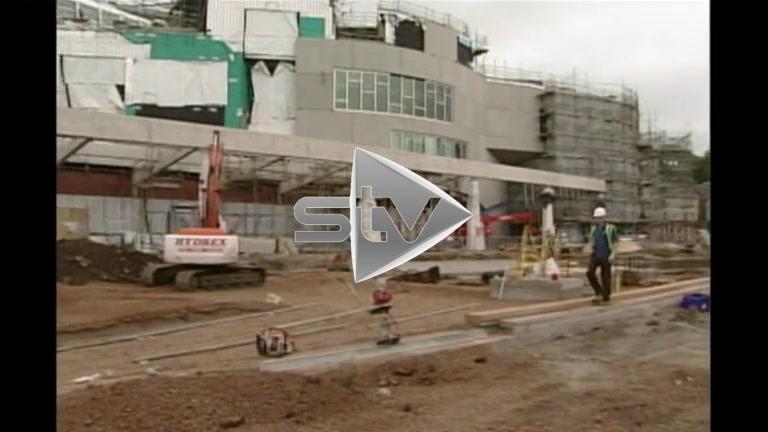Scottish Parliament under construction.