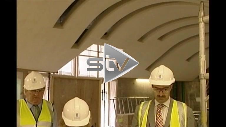 Sean Connery visits Scottish Parliament construction site.