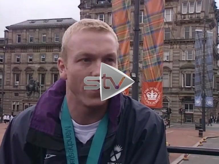 Chris Hoy on Medal Winners Bus