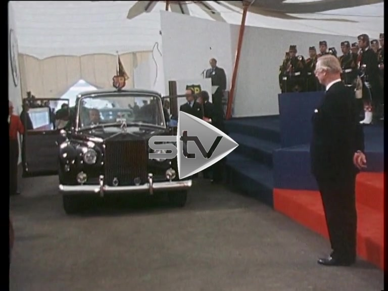 The Queen and Prince Philip visiting BPHQ Dyce 1975