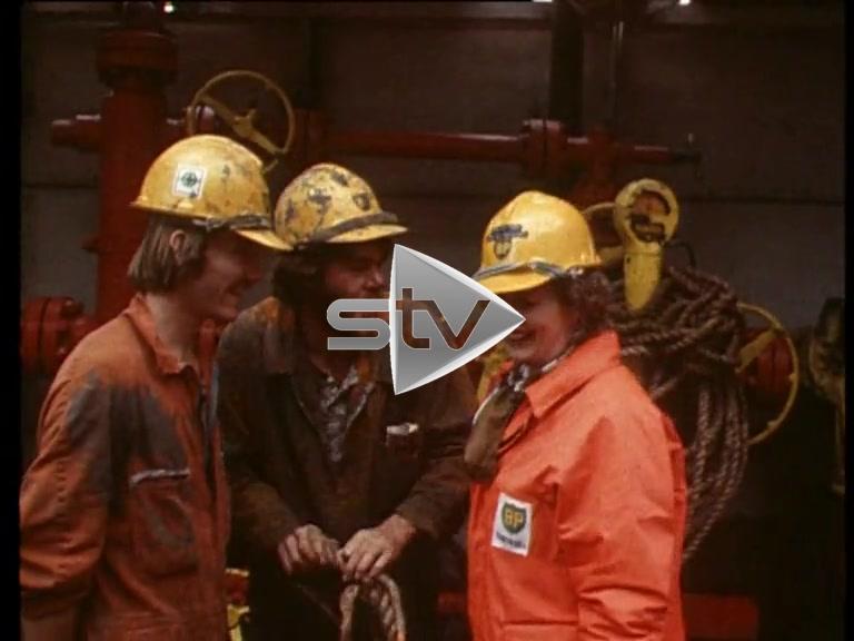 Thatcher Visits Oil Rig